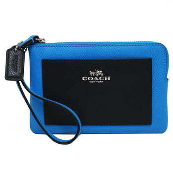 【COACH】經典馬車前口袋皮革手拿包零錢包(藍)
