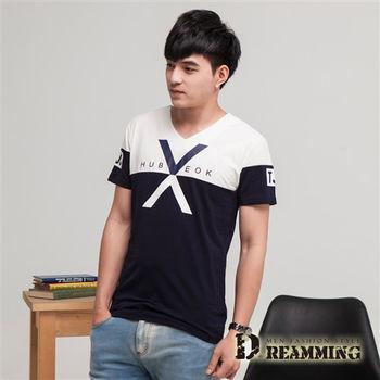 【Dreamming】韓系簡約拼色竹節棉彈力V領短T(共二色)