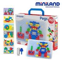 ~西班牙Miniland~1.5CM中拼豆幼童160顆學習組 #45 附透明板圖卡