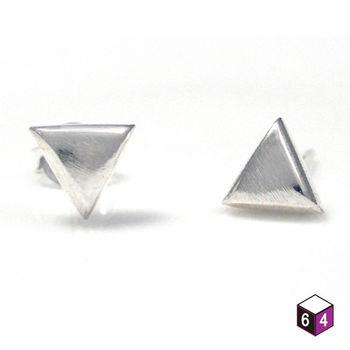 ART64耳環 簡約三角 925純銀耳環 霧面處理