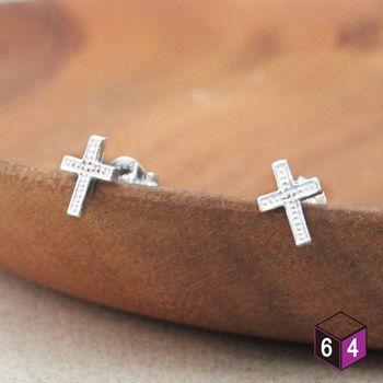 ART64 耳環 小巧十字架  925純銀耳環 聖誕禮物