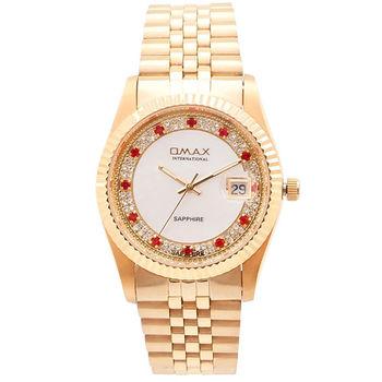 【OMAX】經典紅色晶鑽金色男性錶款(贈品 璀璨珍珠項鍊)