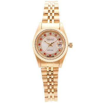 【OMAX】經典紅色晶鑽女錶-小型錶款(金色)