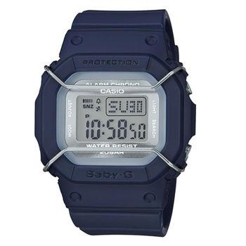 BABY-G 復古時尚風潮輕巧造型運動銀色防撞版腕錶-藍-BGD-501UM-2