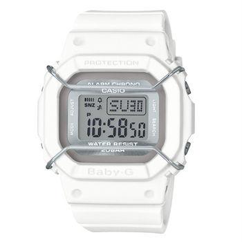 BABY-G 復古時尚風潮輕巧造型運動銀色防撞版腕錶-白-BGD-501UM-7