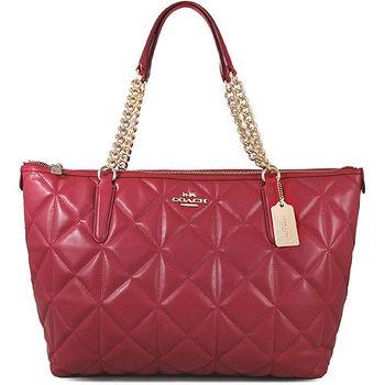 COACH 馬車LOGO紅莓色菱格紋鍊帶托特肩包(大)