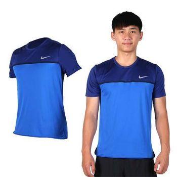【NIKE】男短袖針織衫-T恤 慢跑 路跑 短T 寶藍銀
