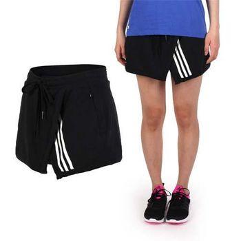 【ADIDAS】女針織短褲-愛迪達 慢跑 路跑 黑白