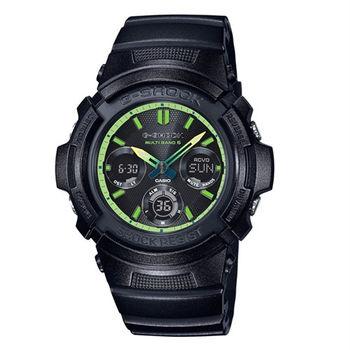 G-SHOCK 活力的萊姆綠時尚運動限量休閒三眼電波版腕錶-黑-AWG-M100SLY-1A