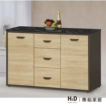 【H&D】瑪莎4尺雙色石面碗盤餐櫃下座