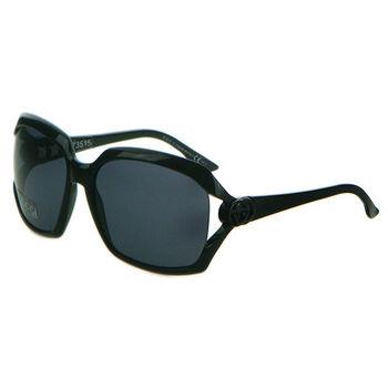 GUCCI-時尚太陽眼鏡(黑色+全黑鏡片)