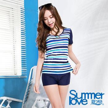 【SUMMERLOVE夏之戀】M-4L短袖長版二件式泳衣-加大碼(S16733)