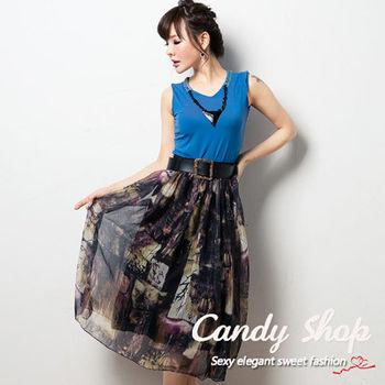 Candy小舖 新品特色款兩件式短T圖案設計長裙 - 藍色