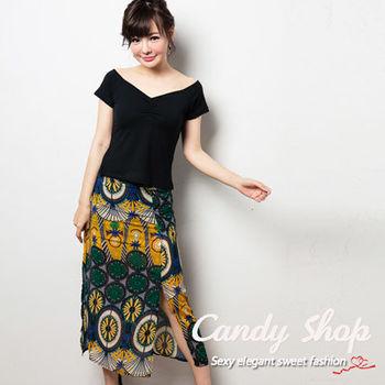 Candy小舖 兩件式氣質特色花系長裙套裝 - 黑色