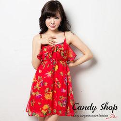 Candy小舖細肩帶荷葉雪紡清涼花花短裙-紅色