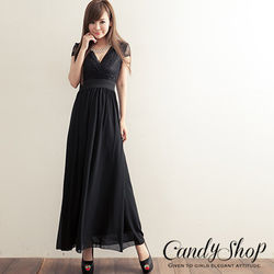 Candy小舖v低胸設計素色典雅波西迷亞風格縮腰長裙-黑色