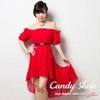 Candy小舖 氣質夢幻平口 縮腰雪紡長洋裝 ^#45 紅色