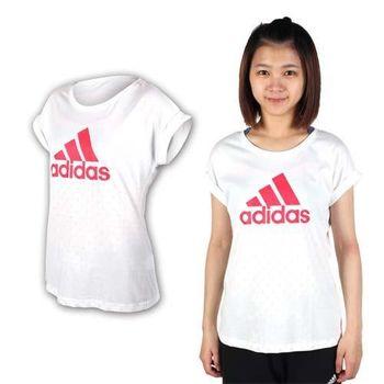 【ADIDAS】女短袖T恤-慢跑 路跑 愛迪達 白桃紅