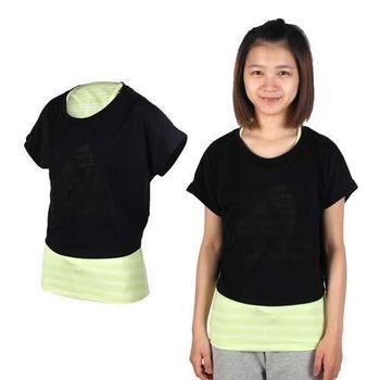 【ADIDAS】女兩件式短袖上衣-T恤 愛迪達 慢跑 路跑 黑淺綠