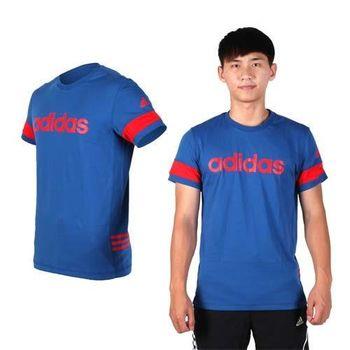 【ADIDAS】男短袖T恤-圓領 棉T 愛迪達 藍紅