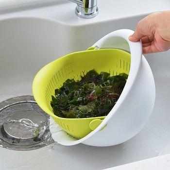 日本製造AKEBONO新專利1.9公升旋轉瀝水籃組(芥末綠)