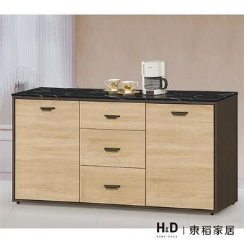 【H&D】瑪莎5尺雙色石面碗盤餐櫃下座