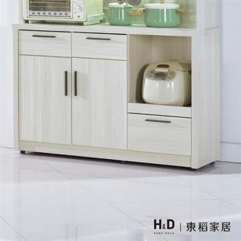 【H&D】菲爾4尺雪山白碗盤餐櫃下座