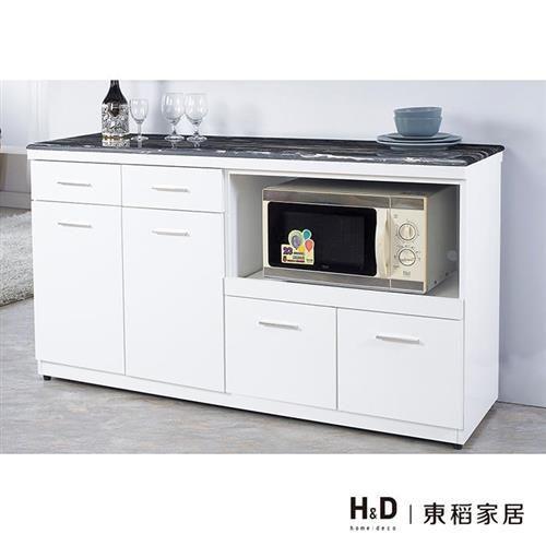 【H&D】華威5尺黑雲龍原石餐櫃