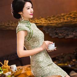 糖潮復古花紋改良式旗袍唐裝