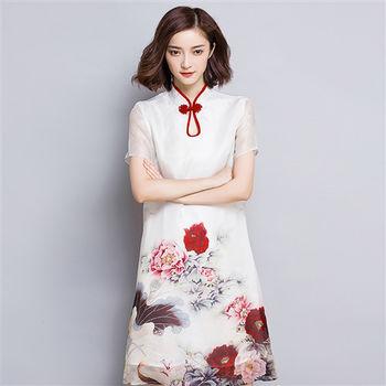 【理子時尚】優雅氣質絲質印花改良式旗袍洋裝