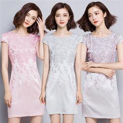 理子時尚高雅綢緞印花修身包臀洋裝
