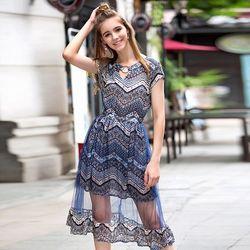 KOVLL中大尺碼藍色波西米亞印花長洋裝