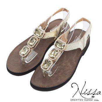 NISSA 全真皮 牛皮寶石涼鞋-金