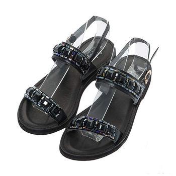 NISSA 全真皮 牛皮一字帶黑色寶石涼鞋 黑