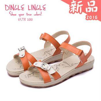 Dingle►交叉飾釦撞色真皮涼鞋*3色