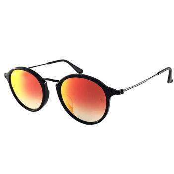 【Ray Ban 雷朋】2447F-9014W-49-亞洲版/復古圓框太陽眼鏡 (黑框#水銀漸層橘鏡面)