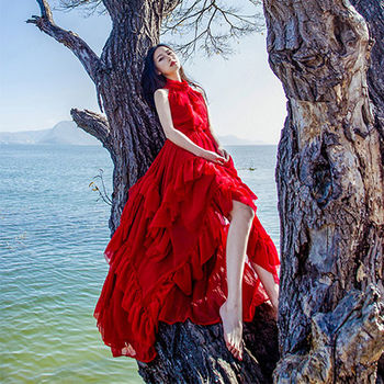 。DearBaby。荷葉邊削肩波浪雪紡長洋裝-(紅色)*預購