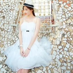 DearBaby俏麗蝴蝶結層次網紗短裙-(白色)*預購