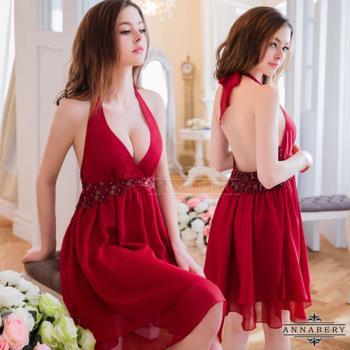 大尺碼Annabery暗紅深V雙層禮服式睡衣