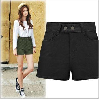 (現貨+預購 RN-girls)-歐美夏季新款高腰顯瘦牛仔棉短褲