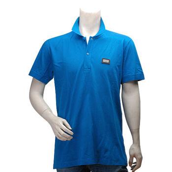 DOLCE  GABBANA DG標牌立領素面短袖POLO衫(藍色-52號)