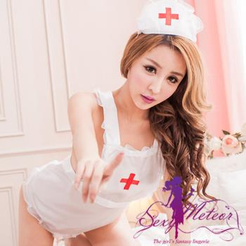 Sexy Meteor 全尺碼-白衣天使圍裙角色扮演護士服+帽+丁字褲3件組(清新白)A2133-02
