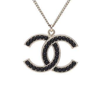 CHANEL 香奈兒經典雙C LOGO麥穗滾邊設計黑珠鑲嵌項鍊(黑X金)