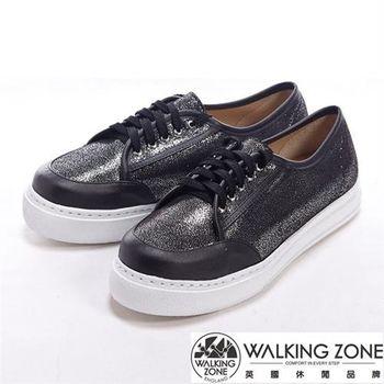 【WALKING ZONE】金蔥閃亮綁帶厚底增高休閒鞋-黑