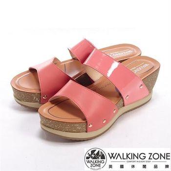 【WALKING ZONE】亮面直套楔型厚底高跟涼鞋-桃