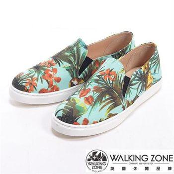 【WALKING ZONE】花朵叢林風格厚底增高休閒鞋-淺藍