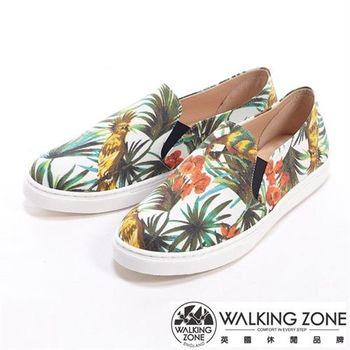 【WALKING ZONE】花朵叢林風格厚底增高休閒鞋-白