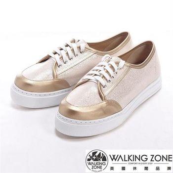 【WALKING ZONE】金蔥閃亮綁帶厚底增高休閒鞋-金