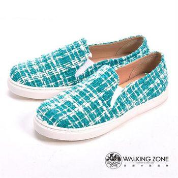 WALKING ZONE 線條混搭色直套內增高鞋-藍