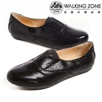 WALKING ZONE英倫風愛心鞋底 亮皮便鞋 ^#45 黑 ^#40 銀 ^#41
